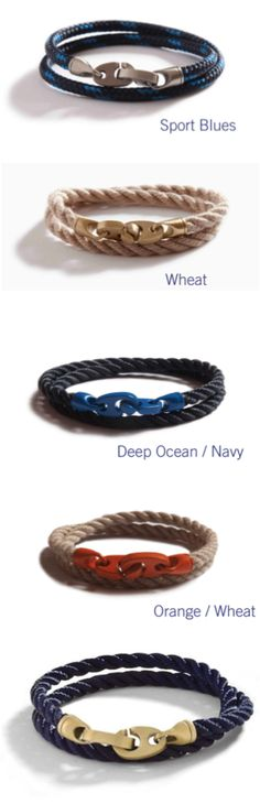 Men's Nautical Bracelet from Authentic Marine Supply by SaliorMade | Hatch.co For men who seek design perfection and a definitively American look. Our original Brummel hooks made of solid brass are paired with authentic marine rope in classic colors. Solid brass hardware, matte finish Nylon twisted marine rope Made to wear in the water. Made in the USA