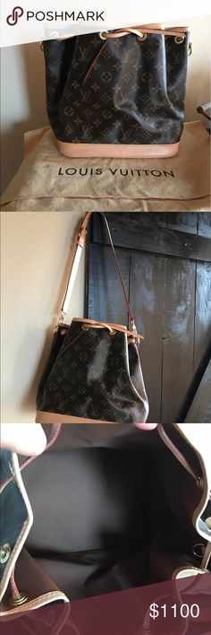 Louis Vuitton Noe Bucket Bag Used once and has been put away.I did change the strap to a brand new strap since mine was hot stamped with my initials. Look at all pictures and ask questions. Only slight marks on bottom as shown in pics. Inside is brand new. Strap is also used once for a full day and has been put away. Bag and strap used once.She's deff real though she was purchased from Las Vegas at one of louie stores there. Comes with dust bag.As is.no returns. Price firm. I paid 1440 plus…