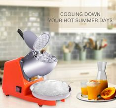VIVOHOME Electric Dual Blades Ice Crusher Shaver Snow Cone Maker Machine Orange 143lbs/hr for Home and Commerical Use Ice Shavers, Ice Bowl, Water Tray, Snow Cones, Frozen Drinks, Mechanical Design, Slushies, Aesthetic Design, Blade