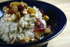 Quinoa Breakfast Pudding with Walnuts, Cranberries and Golden Raisins