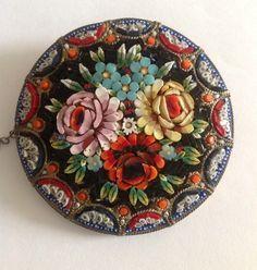 Vintage Micro Mosaic Floral Brooch