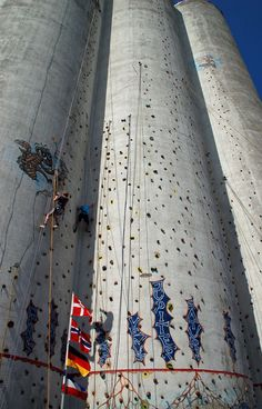 Climbing on concrete silos - allows you to climb even in the flattest parts of the heartland.