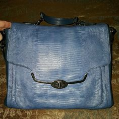 Coach purse- Madison Indigo Lizard Embossed Sadie Really nice coach purse.  Works great to look professional and easily fits a tablet or notebook computer.  Like new, only carried a few days.  Has a hand carry strap on top plus a shoulder strap.  MSRP  $798 Coach Bags Shoulder Bags
