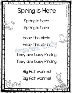 Printable spring poems for kids | seasons | science | rhyming songs for kids | Use in poetry notebook, as a poem of the week, or for a shared reading activity. Great for kindergarten, first grade, second grade, and early readers