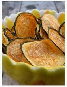 Zucchini Chips seasoned with salt and baked for 45 minutes and additional 30-50 minutes.