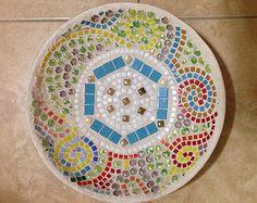 Mosaic bird bath birdbath Unique garden by RebeccaNaylorMosaics