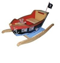 Pirate Rocking Boat wooden handpainted unusual boys toys child playroom captain  Buy online at www.jinneyring.co.uk