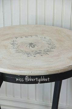 miss flibbertigibbet: Antique Table Makeover Using a Heat Transfer Hand Painted Furniture, Paint Furniture, Repurposed Furniture, Shabby Chic Furniture, Furniture Projects, Furniture Making, Furniture Makeover, Vintage Furniture, Chair Makeover
