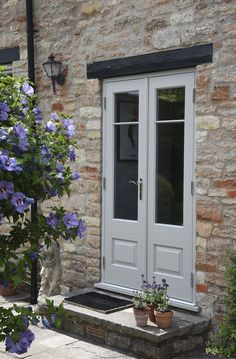 French doors finished in Porcelain with Chrome Chatsworth ironmongery and astragal glazing bars. Manufactured in Engineered European Redwood. Narrow French Doors, Double French Doors, French Doors Patio, Double Patio Doors, Bifold French Doors, French Patio, French Doors With Screens, Windows And Doors, Screened In Patio