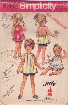 MOMSPatterns Vintage Sewing Patterns - Simplicity 8762 Vintage 70s Sewing Pattern PRECIOUS Toddler Girls Jiffy Bare Back Halter Top Flared Rick Rack Trim Top, Blouse, Bloomers Panties - Love!