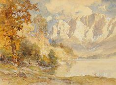Edward Harrison Compton (1881 — 1960, UK-Germany) Der Eibsee mit dem großen Waxenstein. 1955 watercolor. 31.5 x 42.5 cm. (12.4 x 16.7 in.)