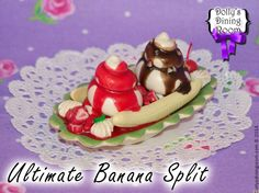 Go straight to heaven with just one bite of this Ultimate Banana Split! Made with delicious, creamy soft serve vanilla ice cream nestled between sweet banana slices and drenched in strawberry sauce and hot fudge and topped with slices of fresh strawberries, nuts, whipped cream, and a maraschino cherry.