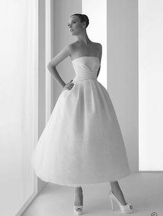 Satin Strapless Neckline Tea length Ball Gown Wedding DressPrincess ball gown wedding dresses