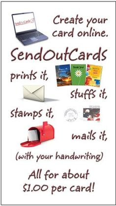 This is how easy it is to send out a card with this amazingly simple system.  And the most astounding part of it all?  They cost just a little over a dollar, including the stamp!  When was the last time you heard of a network marketing product that cost less than you could buy in the store?