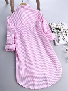 Stylish Plus-Size Fashion Ideas – Designer Fashion Tips Mode Outfits, Casual Outfits, Fashion Outfits, Kurta Designs, Blouse Designs, Striped Long Sleeve Shirt, Long Sleeve Shirts, Long Shirt Outfits, Look Legging