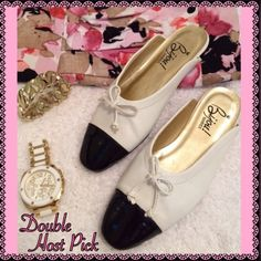 BIJOU! Flats 💖💖DOUBLE HOST PICK💖💖 by @poshtessa AND @crystallavery💖💖ABSOLUTELY ADORBS!!!....BIJOU! FLATS IN WHITE WITH BLACK PATENT-LIKE TOE CAPS...ADORNED WITH SUPER CUTE BOWS!!!...VERY MINOR WEAR AS ILLUSTRATED IN PHOTO #3....TRUE TO SIZE!!!......NO TRADES!! Bijou! Shoes