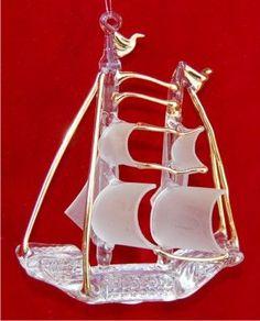Blown & Spun Glass Sailing Ship Christmas Ornament