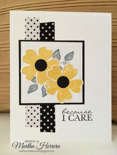Stampin' Up! ... hand crafted card ... Because I Care by marthacreates ... black, white and yellow with a bit of gray ... like the contrasting polka do washi tape strips behind the focal point square ...