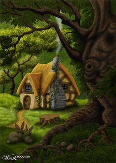 Resultado de imagen de fantasy cottage in the woods