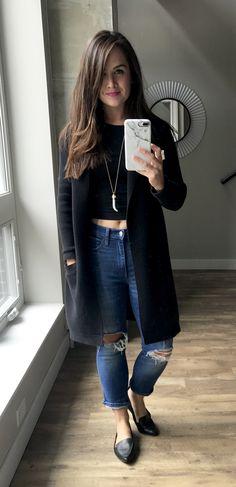 Crop Top + Coatigan + Boyfriend Jeans   ASOS crop, LOFT coatigan, GAP jeans, Aldo shoes and Rocksbox Jewelry - Thyme is Honey
