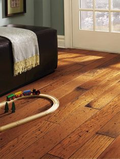 "Prefinished Distressed Hickory Engineered Hardwood Flooring 3/8"" x 5"" at Menards"