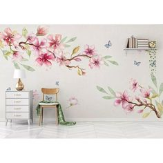 Cherry Blossom Watercolor, Cherry Blossom Wallpaper, Floral Watercolor, Plant Wallpaper, Flower Wallpaper, Wall Wallpaper, Bedroom Wallpaper, Wall Stickers, Wall Decals