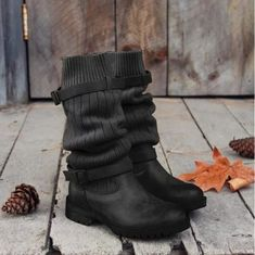 Product name comfort sweater boots vintage pu paneled adjustable buckle cas Chunky Boots, Flat Boots, Brown Heels, Thick Heels, Mid Calf Boots, Ankle Boots, Women's Boots, Sweater Boots, Comfy Sweater