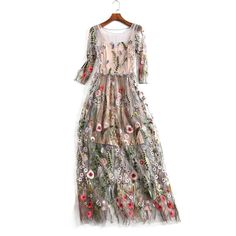 2e71d39786a3 embroidery dress Picture - More Detailed Picture about Women Party Dresses  Vestidos Floral Bohemian Flower Embroidered Vintage Boho Mesh Embroidery  Dresses ...
