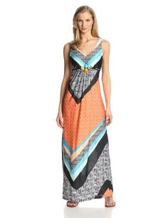 NY Collection Women's Sleeveless V-Neck Maxi Dress with Bead Buckle At Waist, Coral Southwest, Small NY Collection,http://www.amazon.com/dp/B00HT138F2/ref=cm_sw_r_pi_dp_2J6stb0YMFCYJK95