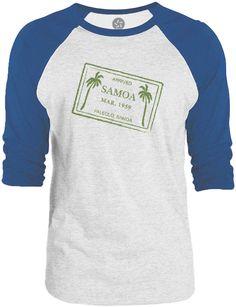Big Texas Samoa Passport Stamp (Green) 3/4-Sleeve Raglan Baseball T-Shirt
