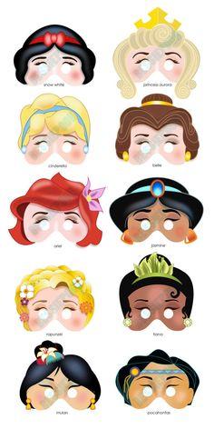 DISNEY PRINCESS PARTY Printable Mask Collection. Includes all 10 masks. Photo booth prop. Disney Snow White, Belle, Ariel, Rapunzel, Mulan