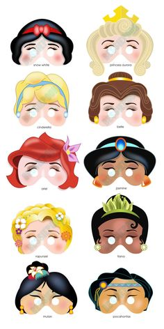 DISNEY PRINCESS PARTY Printable Mask Collection by BessiePooh, $15.00