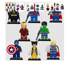Super heroes The Avengers Figures Superman Batman Iron Man Hulk Wolverine Minifigures building blocks Compatible with lego toys (WITHOUT original boxes) Marvel Dc, Marvel Thanos, The Avengers, Iron Man Avengers, Superman And Spiderman, Batman Spiderman, Marvel Infinity, Figurine Batman, Marvel Heroes