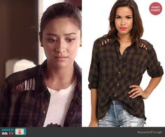 Emily's brown plaid shirt with lace up shoulders on Pretty Little Liars.  Outfit Details: http://wornontv.net/43038/ #PLL