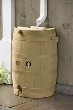 Flat-Back Rain Barrel, Tan. I am definitely getting a rain barrel this year. Water Collection, Rainwater Harvesting, Weathered Oak, Water Conservation, Garden Supplies, Garden Tools, Outdoor Gardens, Homesteading, New Homes