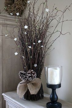 Beautiful Rustic Christmas Decorations You Can Easily DIY Christmas Fireplace, Primitive Christmas, Rustic Christmas, Christmas Home, Christmas Crafts, Christmas Ornaments, Eastern Holiday, Winter Floral Arrangements, Elegant Christmas Trees