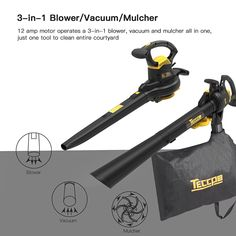 Leaf Blower Vacuum, TECCPO 12-Amp 250MPH 410CFM 3 in 1 Corded Electric Two-Speed Professional Sweeper/Vac/Mulcher with Powerful Motor and Metal Blade - TABV01G Garden Power Tools, Electric Motor, Leaf Blower, Vacuums, Outdoor Power Equipment, Blade, Cord, Amp, Metal