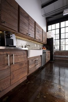 Office Kitchen: Look at those gorgeous floors and cabinets!