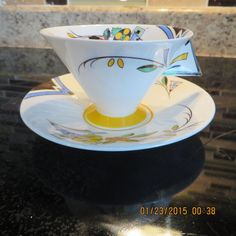 SHELLEY ART DECO TEA CUP AND SAUCER SET WITH SOLID CHEVRON HANDLE #SHELLEY