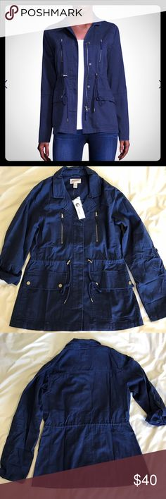 Arizona jean co jacket Brand new with tags Arizona jean co jacket in a bold navy color. Really cute on has a zipper and buttons and can be sinched around the waist. Has pockets as well. Never been worn! Arizona Jean Company Jackets & Coats Jean Jackets