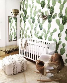 Probably will have to do this if still living in SW when I have a kid. Wallpaper For Nursery, Bold Wallpaper, Wallpaper Childrens Room, Wall Paper Nursery, Living Room Wallpaper Accent Wall, Accent Wallpaper, Closet Wallpaper, Bohemian Wallpaper, Nursery Murals