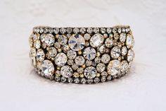 Decadent Swarovski Cuff Bracelet  One of a kind by MoonBubbles, $235.00