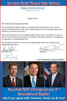 I'm so proud of these Senators for taking a stand against a ruthless political machine and media, in an effort to protect our Freedom and bring our country back!~~~~~ Please join me in saying  a prayer for them and for success in their good works.~ God Bless these Patriots!
