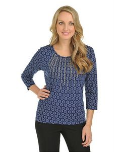 ALLISON DALEY Petite Petite 3/4 Sleeve Scoop Neck With Pin Tucks - NAVY - Petite Small - Fashion Deals