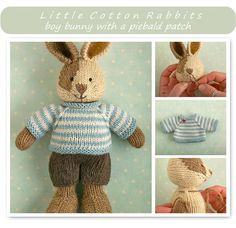 Knitting pattern: Boy Bunny by Little Cotton Rabbits Knitted Bunnies, Knitted Animals, Knitted Dolls, Knitting Patterns Free, Free Knitting, Baby Knitting, Crochet Patterns, Free Pattern, Knitting For Kids