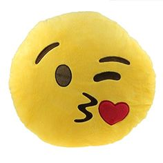 Changeshopping Emoji Smiley Throwing Kiss Thick Plush Yellow Cushion 12*12 Inches Office Stuff Rest Toy Gift Decorative Accessory Pillow