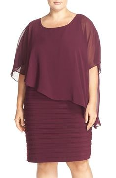 Free shipping and returns on Adrianna Papell Chiffon Overlay Shutter Pleat Sheath Dress (Plus Size) at Nordstrom.com. Beautifully draped chiffon with an asymmetrical cut flutters around the bodice of a sculpted shutter-pleat sheath to create an alluring style with tasteful coverage.