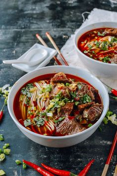 This spicy beef noodle soup recipe is surprisingly simple to prepare at home, spicy, flavorful,and tastes even better than what you can get at a restaurant. Easy Soup Recipes, Noodle Recipes, Beef Recipes, Cooking Recipes, Healthy Recipes, Beef Broth Soup Recipes, Recipies, Ramen Recipes, Spicy Recipes