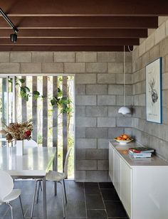 This modest home, designed in the late by Rodney Chambers for himself and his family, is grounded within the beauty of the surrounding garden. Cinder Block House, Cinder Block Walls, Low Budget House, Home Budget, Concrete Block Walls, Concrete Houses, Concrete Interiors, Timber House, Small House Design