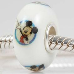 Painted Mickey Mouse Murano Glass Bead with Authentic 925 Sterling Silver Core Fits Pandora Chamilia Biagi Troll Charms Europen Style Bracelets
